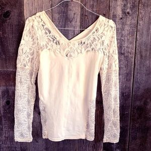 Free People Lace Long Sleeve T-Shirt